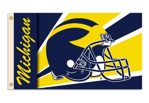Michigan Wolverines 3-by-5 Foot Flag with Grommets - Helmet Design