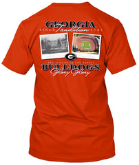 Georgia Bulldogs Then and Now Stadium Tshirt