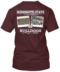 Mississippi State Bulldogs Then and Now Stadium T-shirt