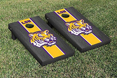 LSU Tigers Cornhole Game Set Onyx Stained Stripe Version