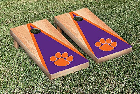 Picture of Clemson Tigers Cornhole Game Set Hardcourt Triangle Version