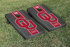 Oklahoma Sooners Cornhole Game Set Onyx Stained Stripe Version