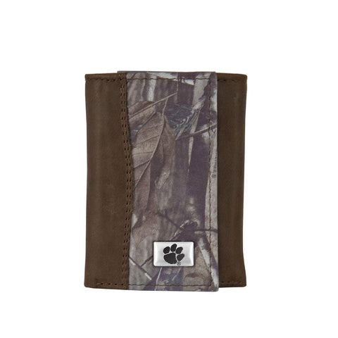 Picture of Clemson Tigers Realtree Camo and Brown Leather Tri-fold Wallet