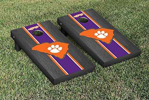 Picture of Clemson Tigers Cornhole Game Set Onyx Stained Stripe Version 2