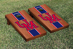 Ole Miss Rebels Cornhole Game Set Rosewood Stained Stripe Version College Vault