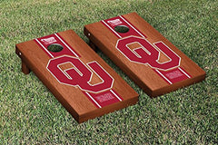 Oklahoma Sooners Cornhole Game Set Rosewood Stripe Version