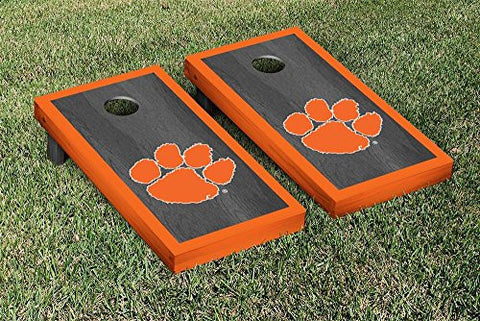 Picture of Clemson Tigers Cornhole Game Set Onyx Stained Border Version