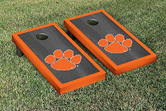 Clemson Tigers Cornhole Game Set Onyx Stained Border Version