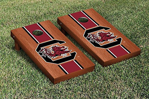 Picture of South Carolina Gamecocks Cornhole Game Set Rosewood Stained Stripe Version