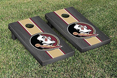 Florida State Seminoles Cornhole Game Set Onyx Stained Striped Wooden