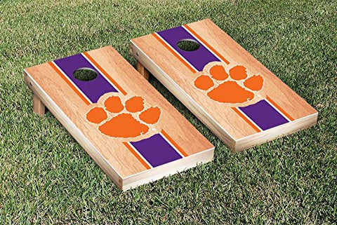 Picture of Clemson Tigers Cornhole Game Set Hardcourt Stripe Version