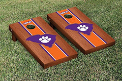 Clemson Tigers Cornhole Game Set Rosewood Stained Stripe Version 2