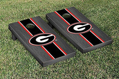 Georgia Bulldogs Cornhole Game Set Onyx Stained Stripe Version 1