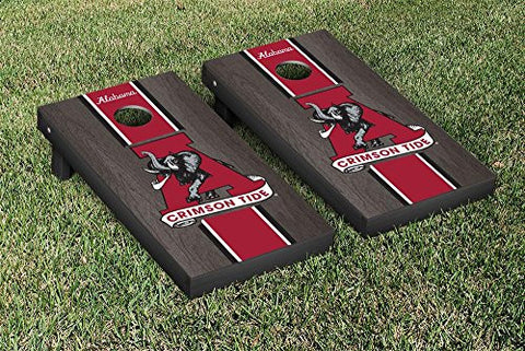 Picture of Alabama Crimson Tide Cornhole Game Set Onyx Stained Stripe Version College Vault