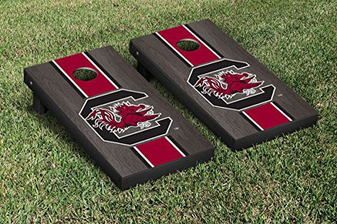 Picture of South Carolina Gamecocks Cornhole Game Set Onyx Striped Wooden