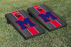 Ole Miss Rebels Cornhole Game Set Onyx Stained Stripe Version College Vault