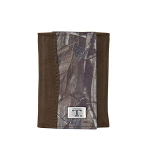 Tennessee Volunteers Realtree Camo and Brown Leather Tri-fold Wallet