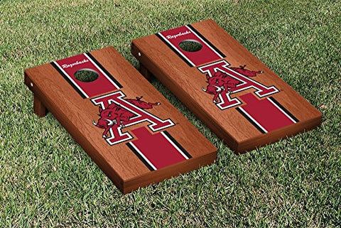 Picture of Arkansas Razorbacks Cornhole Game Set Rosewood Stained Stripe Version College Vault