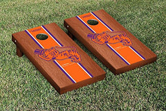 Clemson Tigers Cornhole Game Set Rosewood Stained Stripe Version College Vault