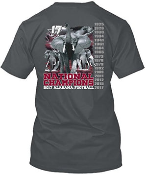 Alabama Crimson Tide National Champions T Shirt 2017 - 2 Colors - Cardinal and Gray - SP