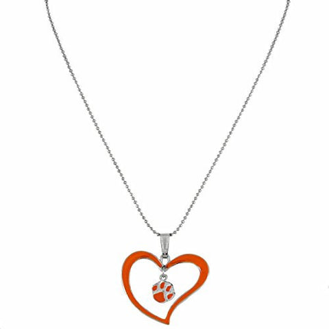 Picture of Clemson Tigers Heart Necklace with Tiger Paw