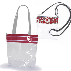 Oklahoma Sooners Clear Tote Bags for Stadium - 2 pack of Large and Small Size