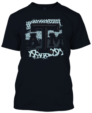 Texas A&M Animal Pattern T-shirt(713) - Black