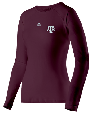 Texas A&M Women's Techfit Adidas Long Sleeve T-shirt(708)