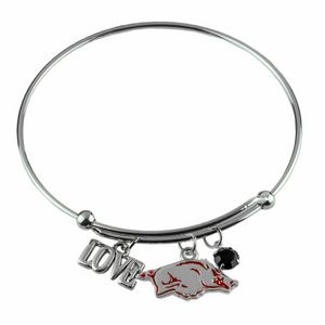 Arkansas Razorbacks Love Charm Bracelet