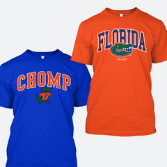 Florida Gators Chomp Shirt and Word Logo T-shirt Combo - 2 Shirts - Blue and Orange