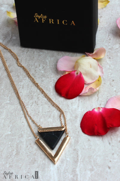 Black Marble Geo Necklace