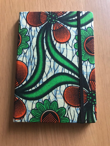 A5 African Print Ankara Notebook | Bullet Journal | Travel Journal (green/orange)