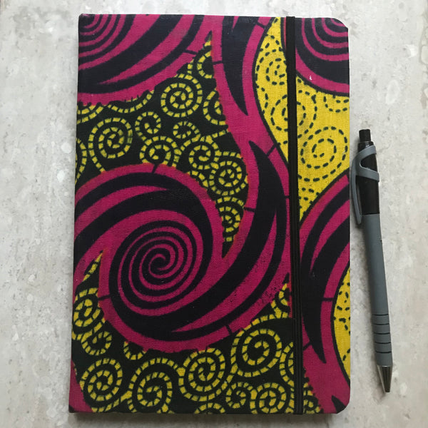 A5 African Print Ankara Notebook | Bullet Journal | Travel Journal (yellow)