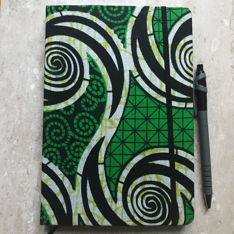 A5 African Print Ankara Notebook | Bullet Journal | Travel Journal (green)