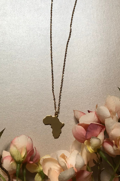 Gold Plated Africa Pendant Necklace