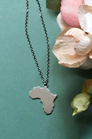 Silver Coloured Africa Pendant Necklace
