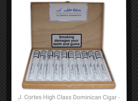 "J Cortes - High Class ""Dominican"" (White) - Box of ten Tubed"