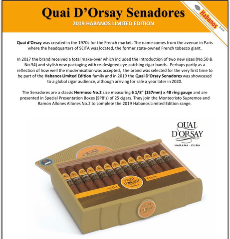 Quai d'Orsay Senadores Limited Edition 2019 Cigar - Box of 25