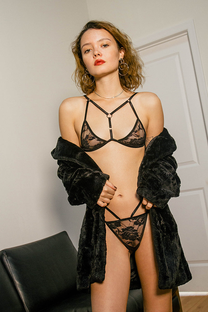 Fantasy Bralette - Black Rose