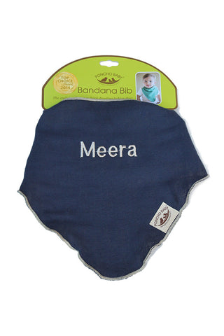 Personalized Bib - Reversible Bandana Navy Blue/Beige