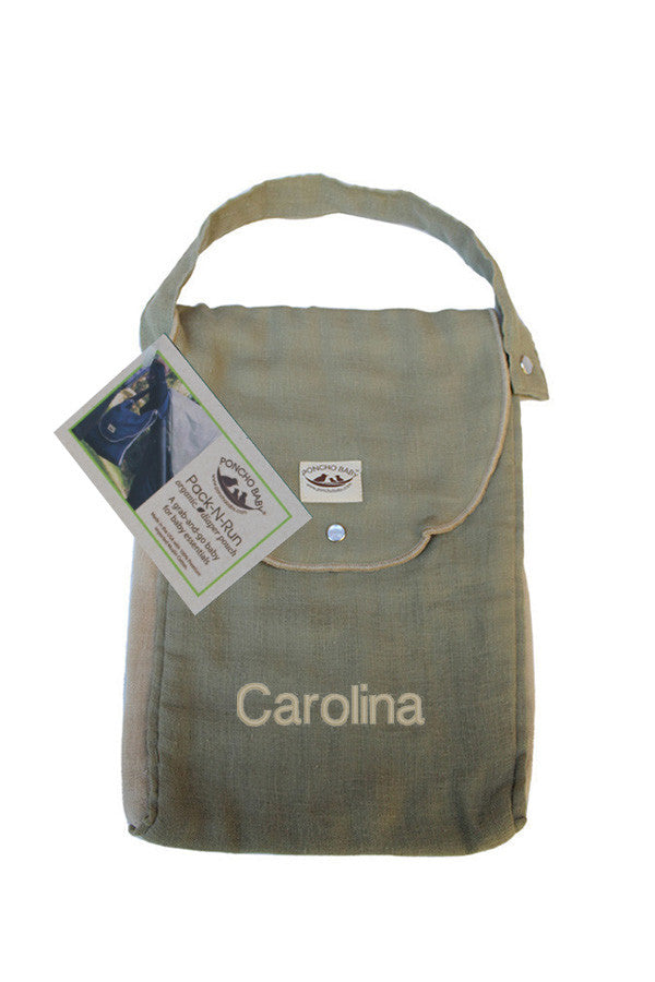 Personalized Diaper Bag - Organic Pack-N-Run™ Olive/Beige