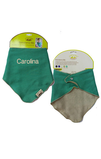 Personalized Bandana Bib - Reversible Emerald/Beige