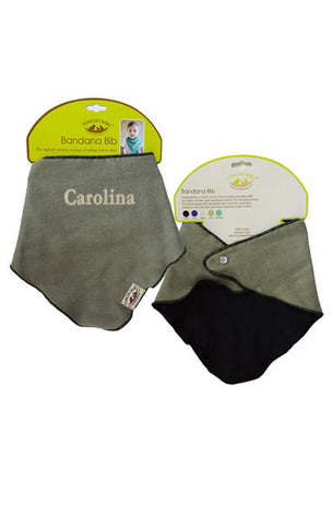 Personalized Bandana Bib - Reversible Olive/Black