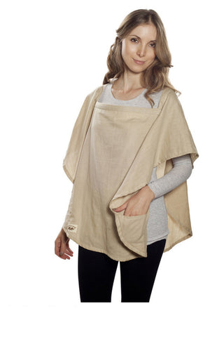 Nursing Cover  - 100% Cotton Muslin Beige Oval
