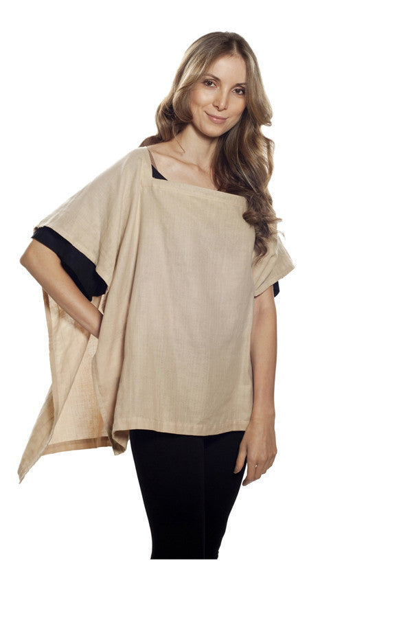 Nursing Cover  - 100% Cotton Muslin Beige Square