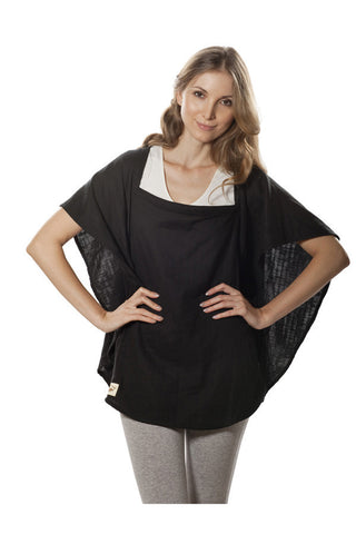 Nursing Cover  - 100% Cotton Muslin Black Oval