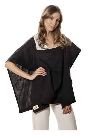 Nursing Cover  - 100% Cotton Muslin Black Square