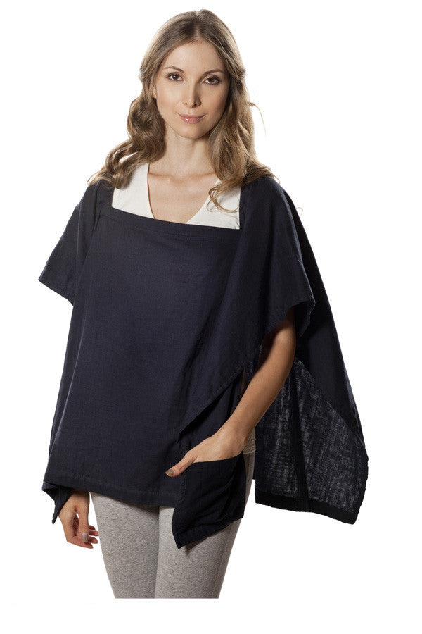 Nursing Cover  - 100% Cotton Muslin Navy Square