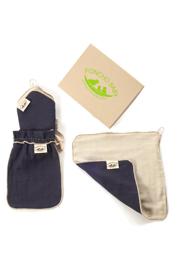 Dad Washcloth - 100% Cotton Muslin Navy