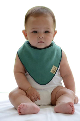 Bandana Bib - Reversible Emerald/Navy Blue